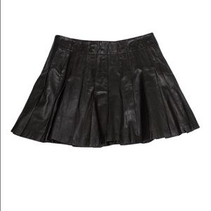 Alice+Olivia Like New Lamb Leather Pleated Skirt 6